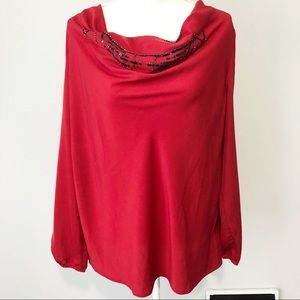 Coldwater Creek red sequin drape cowl neck blouse